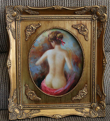Original Oil Painting on Canvas - Nude Woman Lady Signed Framed