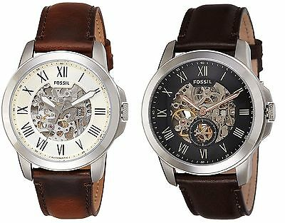 Fossil Mens Grant Automatic Skeleton Dial Leather Watch - Multiple Variations