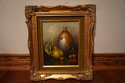 LOT OF 2 VINTAGE OIL PAINTINGS ON CANVAS FRAMED FRUITS SIGNED