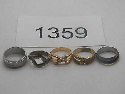 Vintage Jewelry Ring Lot Of 5 Gold Silver Tone Mens Womens                1359