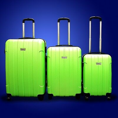 New Generic 3PCS Luggage Travel Set Bag ABS Trolley Suitcase w Lock Green
