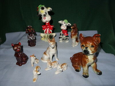 Vintage Lot of Ceramic Porcelain Dogs and Puppies Made in Japan