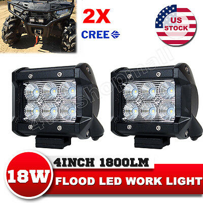 2x 4inch18W CREE LED Work Light Flood Beam Offroad Driving Lamp Truck 12V