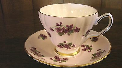 COLCLOUGH BONE CHINA CUP AND SAUCER MADE IN ENGLAND PATTERN  8107 VIOLETS