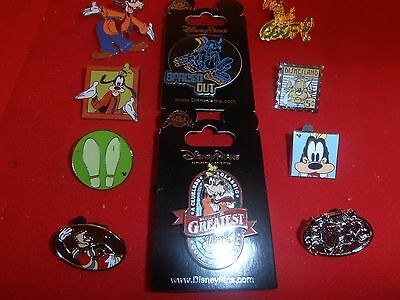 10 Disney  pins  Mickeys  Pal Goofy 2 are New on Card 1 is 3D  As Shown- lot D