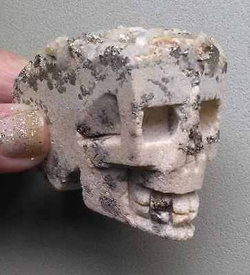 2 58 Stunning Very Rare Natural Pyrite - Quartz Crystal Skull with Wood Stand