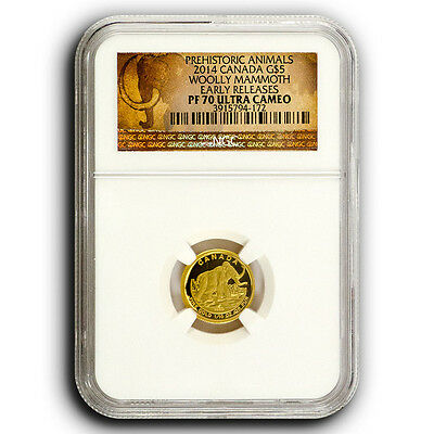 2014 Wooly Mammoth NGC PF70 ER Canada 110th oz Proof Gold Coin