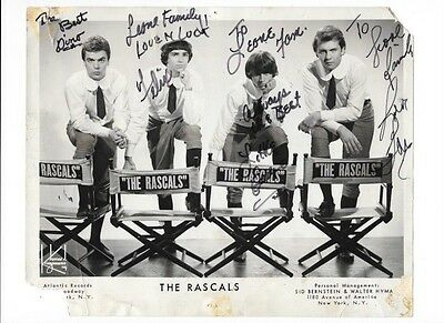 THE RASCALS SIGNED 8 X 10 INCH PROMO PHOTO DINO FELIX EDDIE AND GENE NO COA