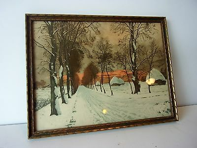 VINTAGE FRAMED PICTURE-THE GLORY OF WINTER-BY JOURDAIN