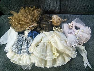 Assorted Doll clothes and wigs for porcelain dolls