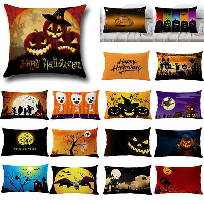CAT WITCH CASTLE LINEN THROW PILLOW CASE CUSHION COVER HALLOWEEN SOFA MODE