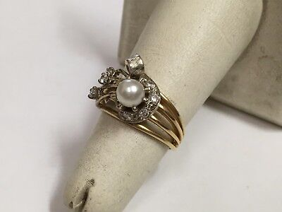 VINTAGE 14K YELLOW  WHITE GOLD PEARL DIAMOND RING 5-4 GRAMS JEWELRY NO RESERVE
