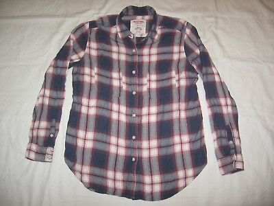 MOSSIMO WOMENS BOYFRIEND FIT BLUE RED WHITE PLAID BUTTON UP RAYON SHIRT SIZE M
