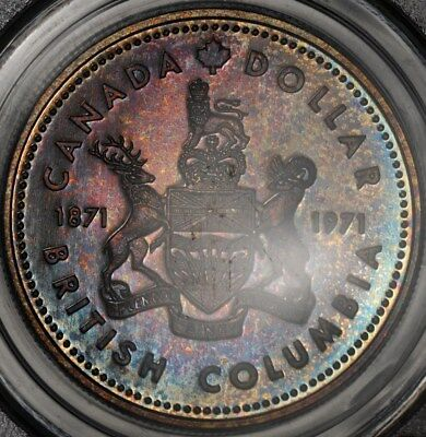 1971 PCGS SP69 CANADA SILVER DOLLAR S1 SUPERB COLOR TONED