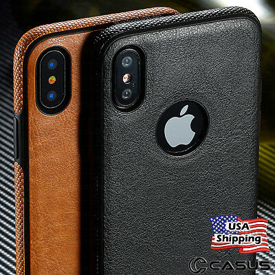SLIM Luxury Leather Back Ultra Thin TPU Case Cover for iPhone X - 876s Plus