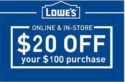 THREE 3x Lowes 20 OFF 100-Lowes-Coupons  -3-minutes-Fast Delivery-