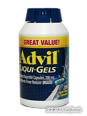 Advil Liqui-Gels 200mg 200 Capsules Pain RelieverFever Reducer GREEN