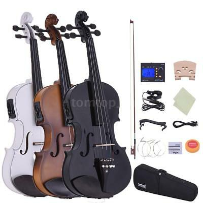 Acoustic 44 Electric Violin Ebony Fitted Natural Wood Black White with Case Kit