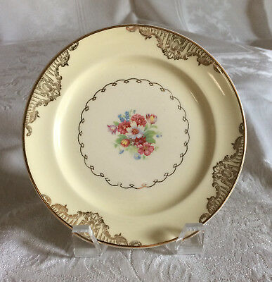 Paden City Pottery Bread Plates Set Of Eight PCP131 Gold Scrolls Floral Spray