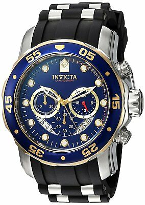 Invicta Mens 22971 Pro Diver Chronograph 48mm Blue Dial Steel-Rubber Watch
