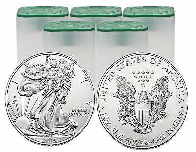 Lot of 100 - 1 1oz Silver American Eagle BU Rolls Random Date