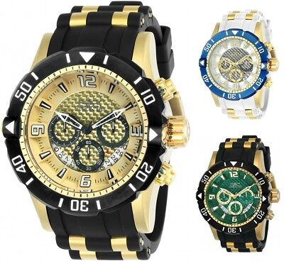 Invicta Mens Pro Diver Chronograph 50mm Gold-Tone Watch - Choice of Color
