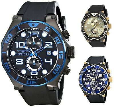 Invicta Mens Pro Diver Chronograph 50mm Rubber Watch - Choice of Color