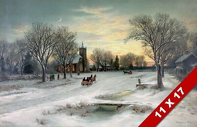 CHRISTMAS EVE IN OLD ENGLISH VILLAGE VINTAGE CLASSIC ART PAINTING CANVAS PRINT