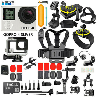 GoPro HERO 4 Silver Edition Touchscreen Camera - 40 Pcs Extreme Sports Accessory
