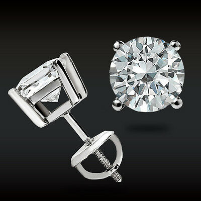 2-00 CT Round Earrings 14K Solid White Gold Basket Studs Brilliant Screw Back