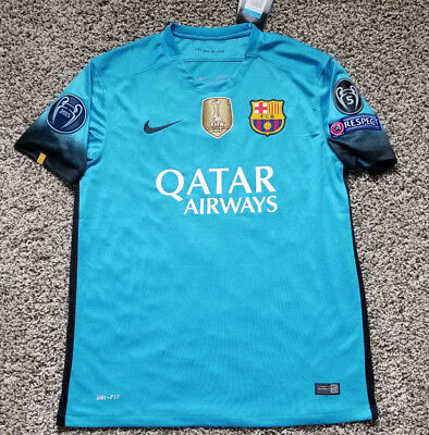 2016 FC BARCELONA CHAMPIONS LEAGUE MESSI SUAREZ STADIUM AWAY ALTERNATIVE JERSEY