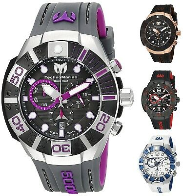 Technomarine Mens Black Reef 500M Chronograph 45mm Watch - Choice of Color