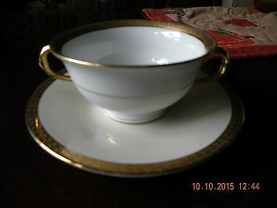 Vintage Victoria Austria China 2 Handled Tea Cup and Saucer Gold Filigree
