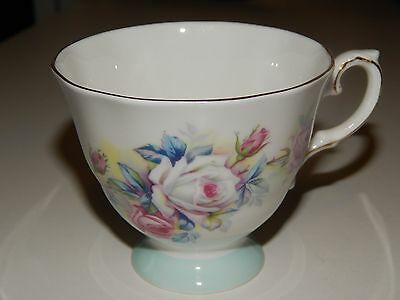 Royal Grafton Teacup Baby Blue Band White - Pink Rose