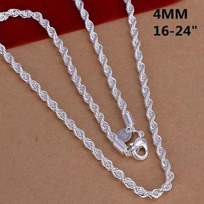 16 - 24 Mens Womens 925 Sterling Silver 4mm Twisted Rope Chain Necklace N150