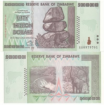 2 50 TRILLION ZIMBABWE DOLLARS UNCIRCULATED NOTES 2008 AA SERIES 100 TRILLION