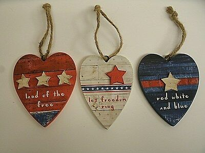 Lot of 3 PATRIOTIC Red White Blue wood ornament Wall hanger decor 4th of July