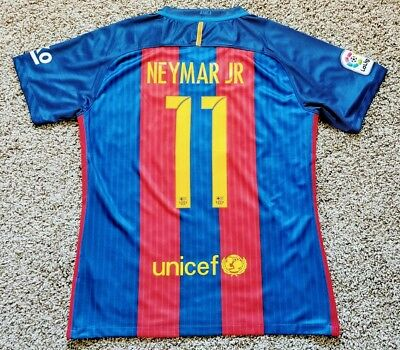 2016 2017 FC Barcelona Champions League Neymar Jr Home Jersey L Large USED