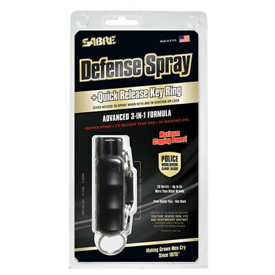 Sabre Defense Spray - Quick Release Key Ring Advanced 3 in 1 Formula