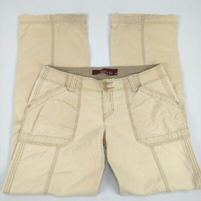 Hollister Co Women Medium Khaki Pants Hiking Casual Buttons Loose Fit Beige -AB