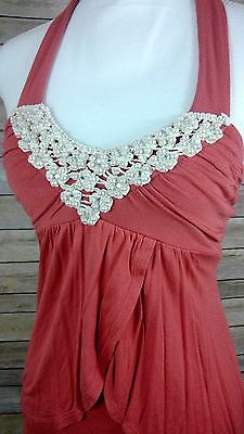 Wet Seal Women Pearl Embroidered Sleeveless Stretch Knit Salmon Color Top SZ S