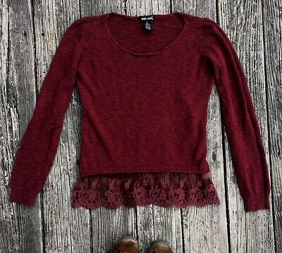 Medium Maroon Wet Seal Lace Sweater Hippie Boho Urban Outfitters