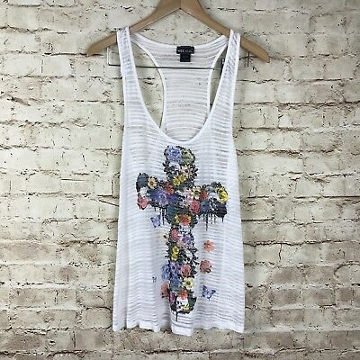 Wet Seal White Sheer Cross Flower Racerback Top Size XL