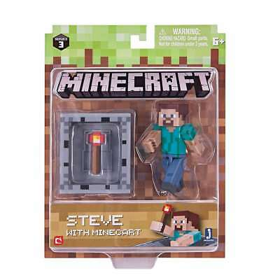 New MINECRAFT STEVE with Minecart Toy