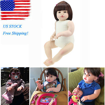 28 Reborn Toddler Dolls Handmade Lifelike Naked Girl Doll Vinyl Cute Baby Gift