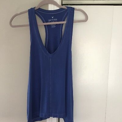 American Eagle Outfitters sz Small Soft And Sexy VISCOSE Racerback Tank Blue AEO