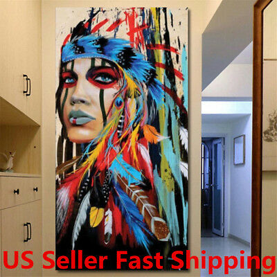 40x20 Abstract Indian Woman Canvas Painting Print Picture Home Wall Art Decor
