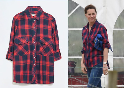 ZARA CHECKED PLAID SHIRT IN RED SIZE MEDIUM ASO KATE