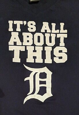 Detroit Tigers Majestic MLB baseball navy blue its all about this D shirt XL