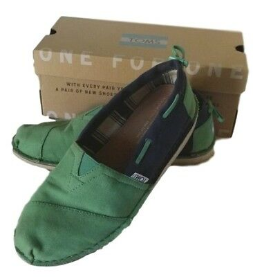 Toms Womens Bimini Green - Blue Slip on Shoes Perfect Condition Size 6-5 w box